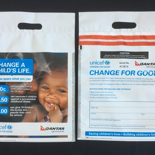 Change for good tamper evident coin bags